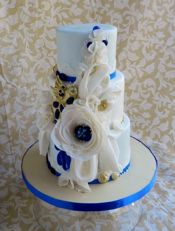 white blue gold cake