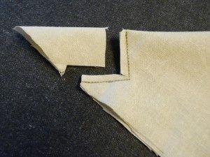 Truco esquina angulada. Para servilletas, manteles, mantas, etc.