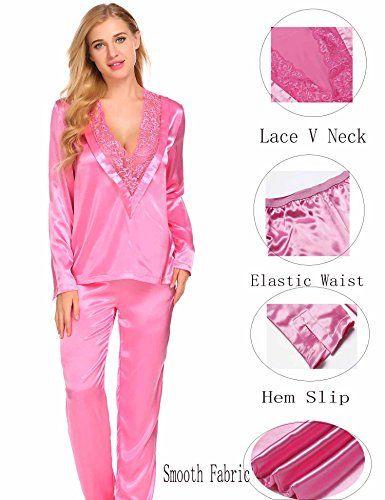 Adidome Womens Satin Pajama Set Lace Patchwork V Neck Blouse Long Pants  Sleepwear Loungewear 2PCS (S-XXL) 74e206170