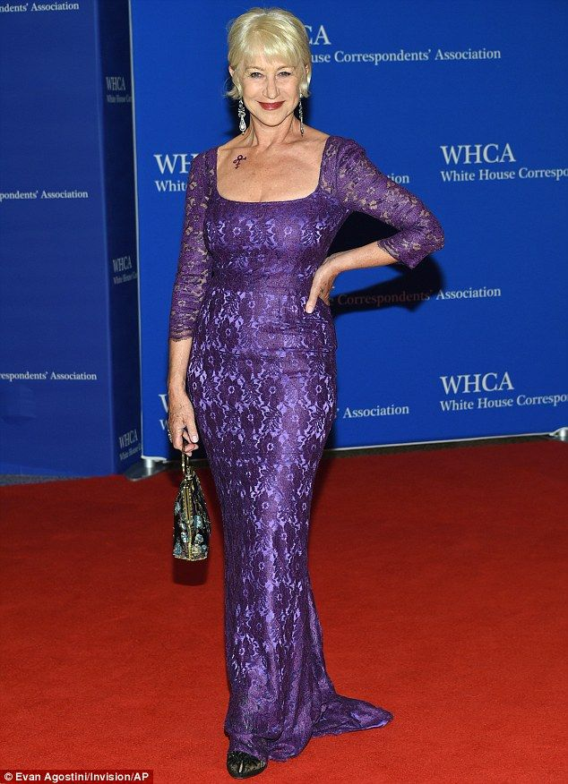 Stunning: Helen Mirren looked beautiful as she hit the red carpet in a bright plum purple shade