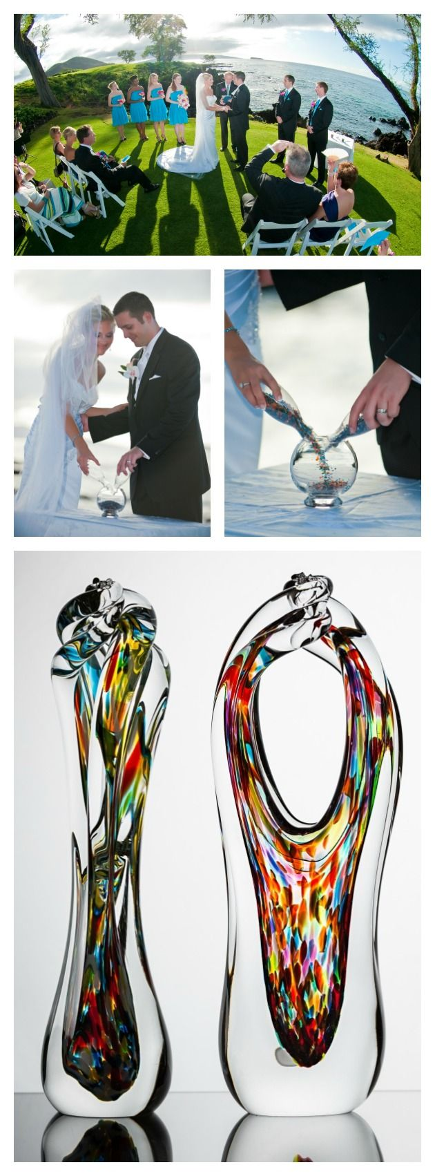 The most unique and elegant ceremony idea. Mix glass crystals at your wedding and our glass blowers create a one-of-a-kind piece for you, so you can hold on to the memories for a lifetime...