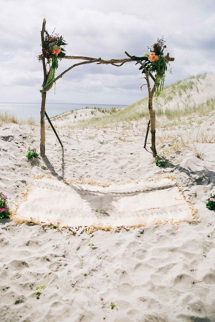 driftwood arch - rustic glamping boho new zealand beach wedding