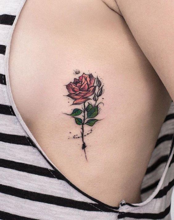 Sexy Rose Tattoos On Side Boob Tattoo Tattoos Tattoo Designs