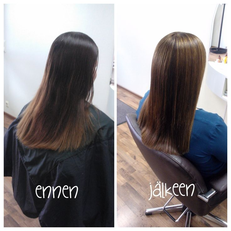 Before and after photos of makeover. Highlights on medium brown haircolor by Emmi/Parturi-kampaamo Salon Maria Seinäjoki