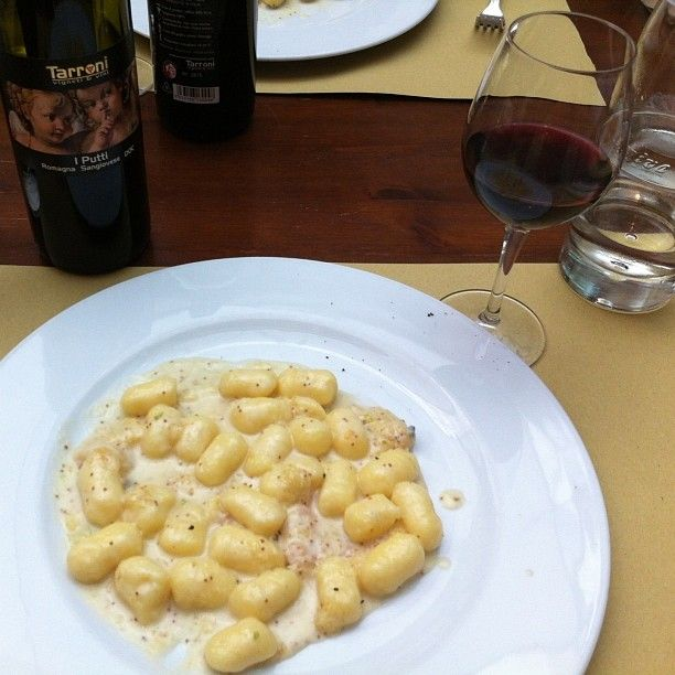Gnocchi with Gorgonzola and fig. Paired with a Romagna Sangiovese. Buon Appetito! - Instagram by @Rachelle Lucas
