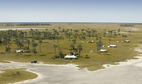 White canvas desert safari tents...  San Camp in the Makgadikgadi Salt Pans, Botswana