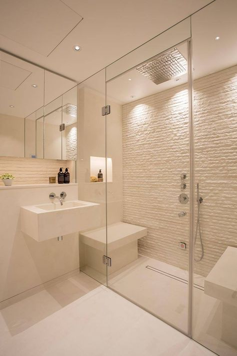 Minimal Shower Surround Option Belgravia Steam Room With Textured Stone And Polished