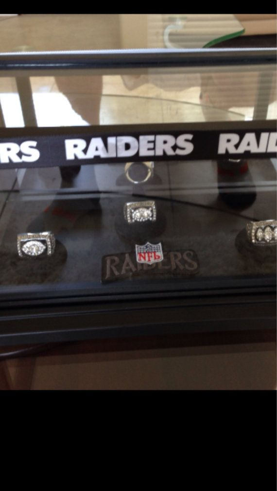 Raiders Super Bowl rings all three wins with glass by sportyz