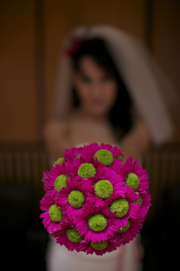 Hot pink germini and green santini in a wedding bouquet!