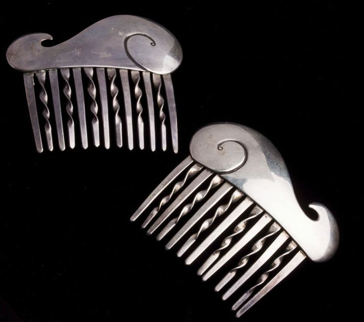 Pair Native American Navajo Side Hair Comb/Clip Kenneth Begay Modernist Sterling