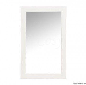 """J-Line Rechthoekige houten witte spiegel in wit hout 80x50 <span style=""""font-size: 0.01pt;"""">Jline-by-Jolipa-48866-miroir-rectangle-blanc</span>"""