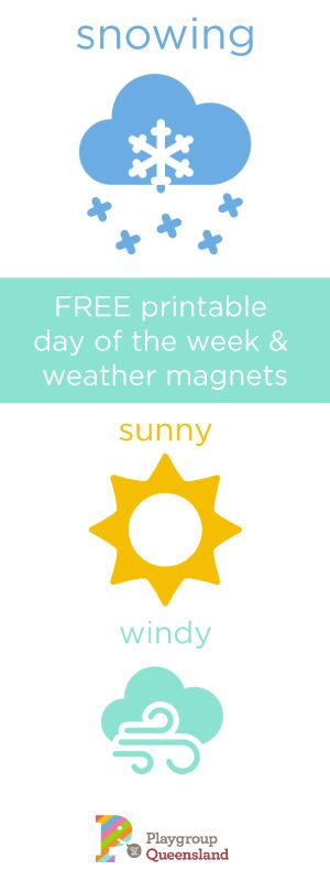 Free printable day of the week and weather cards. Make your own fridge magnets for your kids.