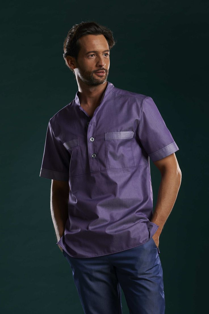 GUADALUPE Man Top in Ametist cotton