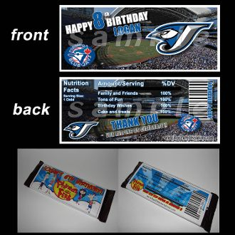 TORONTO BLUE JAYS CANDY BAR WRAPPERS