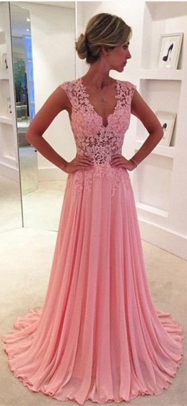 Cute prom dresses,v-neck pink bridesmaid dresses,lace top chiffon prom dresses,Lace V-neck see-through long chiffon prom dress Blush Pink Vintage Lace Classic Prom Dresses