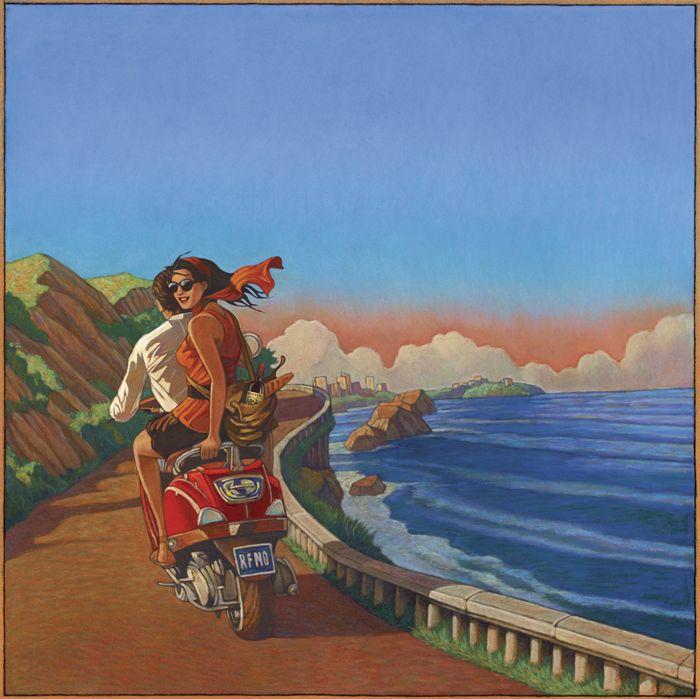 Illustration by Miles Hyman LindgrenSmith.com #mopeds #scooters #vespa