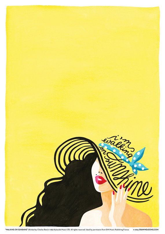Illustration of Katrina and the Wavess iconic 80s pop song Walking on Sunshine. This print was produced from an original gouache painting. ------