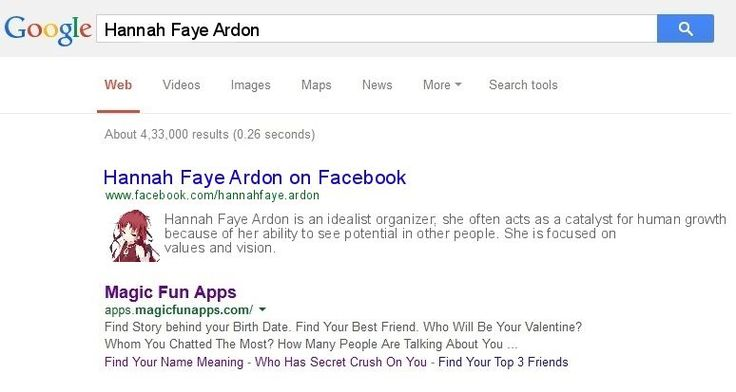 Check my results of Find What Google Says About You? Facebook Fun App by clicking Visit Site button