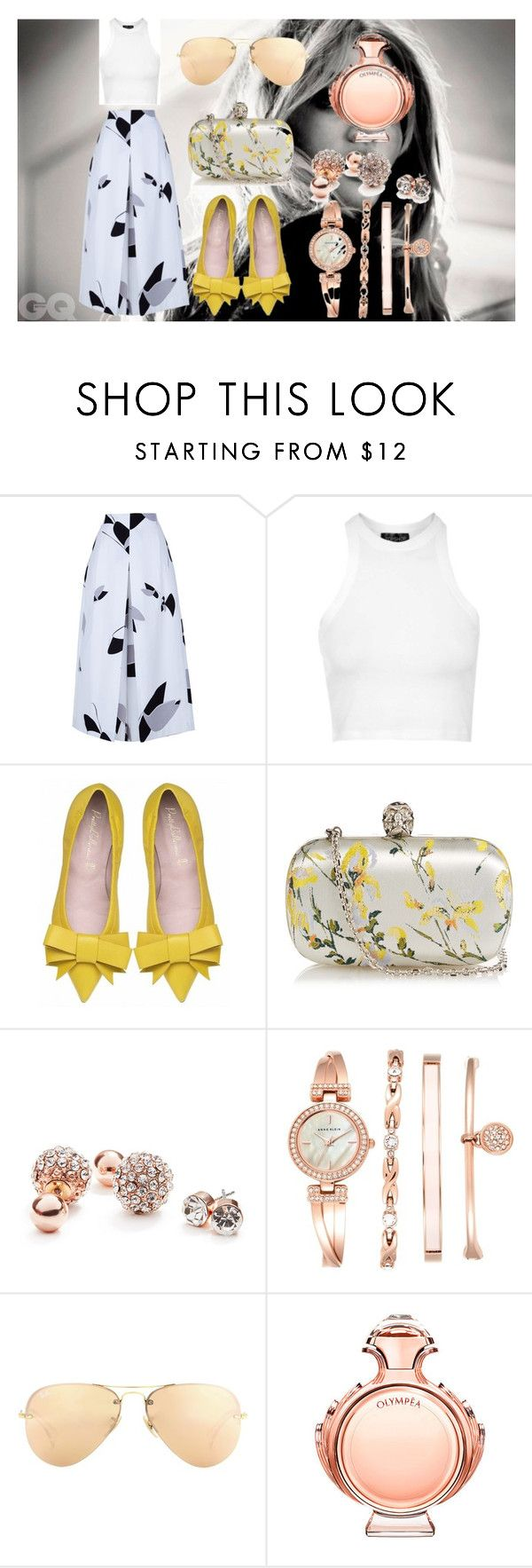 """""""Sunny Days."""" by lineocarol on Polyvore featuring TIBI, Topshop, Alexander McQueen, GUESS, Anne Klein, Ray-Ban, Paco Rabanne, women's clothing, women and female"""