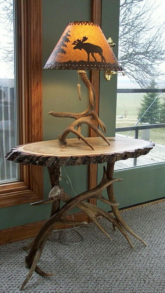 antler table and lamp combo