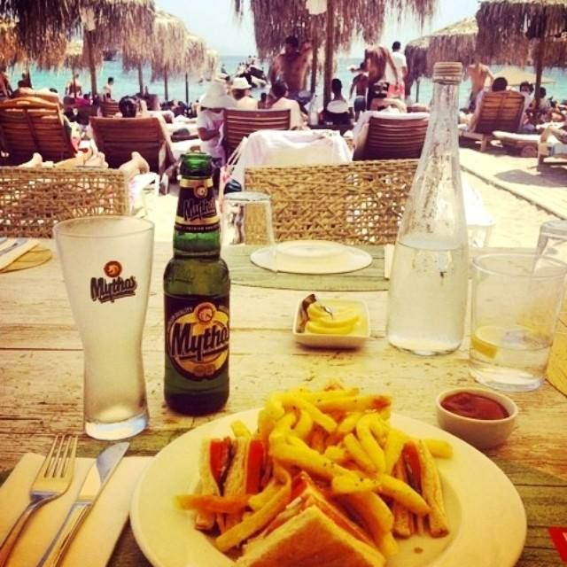 So simple combination... that makes the difference!   #relax #beer #exotic #sea #club #sandwich #happiness #official #foodporn #instapic #instafood #yumyum #foodtime #crazy #summer #summertime #love #beachlife #paragabeach #kaluabeach #happy #Greece #island #mykonos #join #pleasure #Kaluamykonos