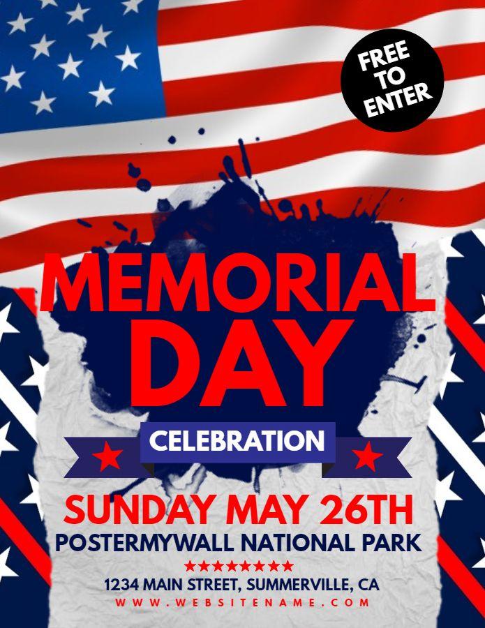 Memorial Day Celebration Flyer Design Template Memorial Day Memorial Day Celebrations Flyer Design Templates