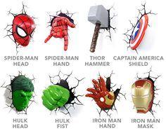 3D Deco Superhero Wall Lights | ThinkGeek...definitely Hulk & Iron Man....for starters anyway