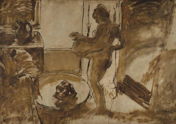 Nude Woman Drying Herself  Edgar Degas: Women Dry, Degas French, Degas Nudes, Art Resources, Degas Monotyp, Brooklyn Museums, Edgar Degas, Nudes Women, Degas Edgar