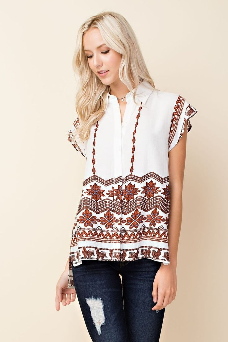 White Short Sleeve Top Burnt Orange Pattern - Longhorn Fashions