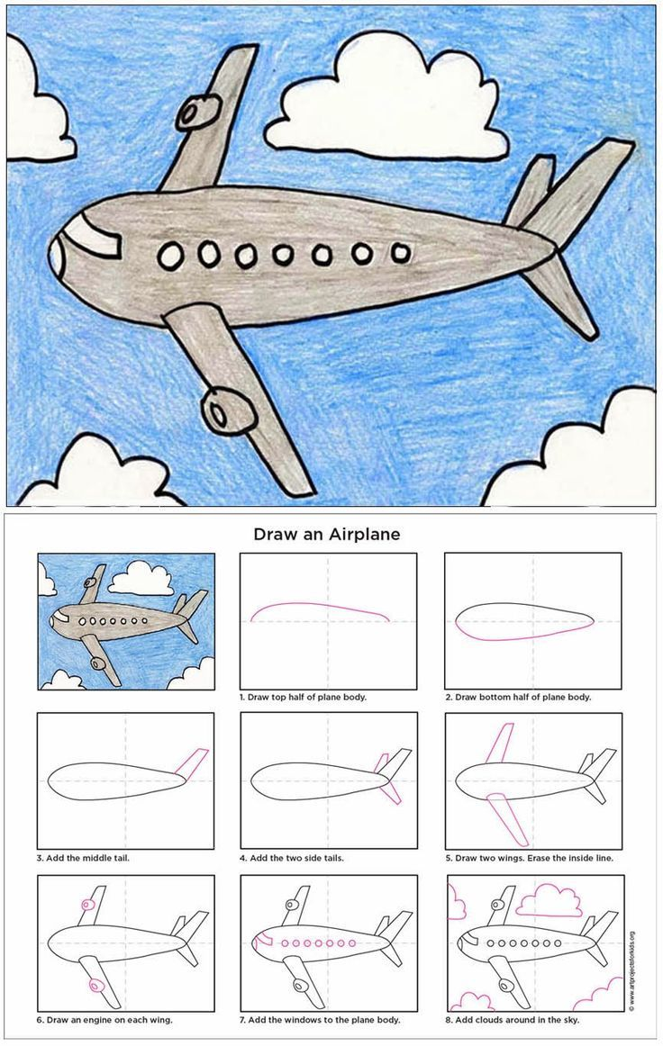 Art Projects for Kids: How to Draw an Airplane. Print friendly PDF file available to download. #artprojectsforkids