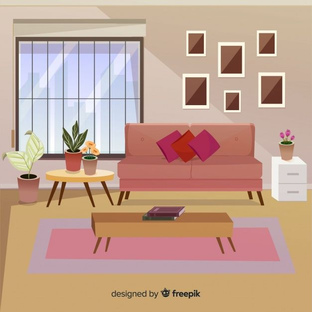 Download Modern Living Room With Flat Design For Free Room