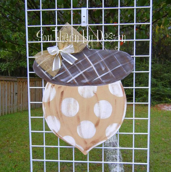 FALL ACORN Wooden Door Hanger Door Decor by SouthernByDesignCo & 16 best Acorn wood hangars images on Pinterest | Fall door hangers ... Pezcame.Com