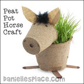 ©2010, Digital by Design, Inc. - See Copyright Information       Peat Pot Horse Planter Craft for Children Horse Peat Pot Craft for Children from www.daniellesplace.com