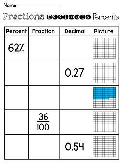 decimal fraction percent worksheet