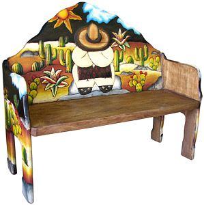 The perfect combination of beauty and utility, this stunning siesta bench will add color and charm to any seating area. Hand carved and hand painted by highly skilled artisans in central Mexico, these benches are heirloom-quality, to be passed down from one generation to the next. So summon the interior designer from within, and create a fabulous new space in your home with this striking macaw bench as the centerpiece.