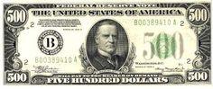 u.s. five hundred dollar bill   Five Hundred U.S. Dollars, Five Hundred Dollar Bill