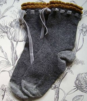 would love to try this by knitting eyelets and a lacy trim for the ankle
