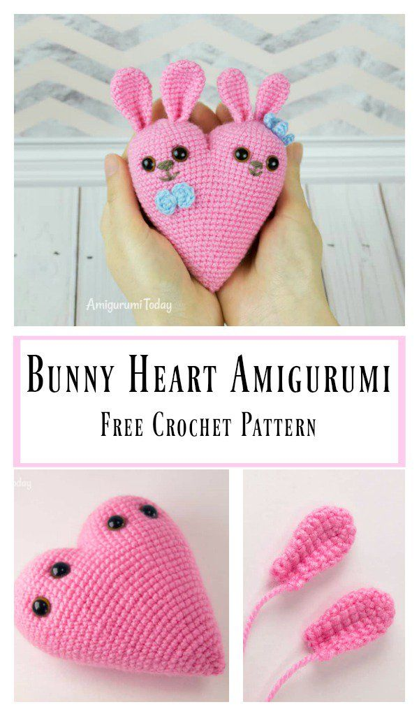 Bunny Heart Amigurumi Free Crochet Pattern Valentines Pinterest