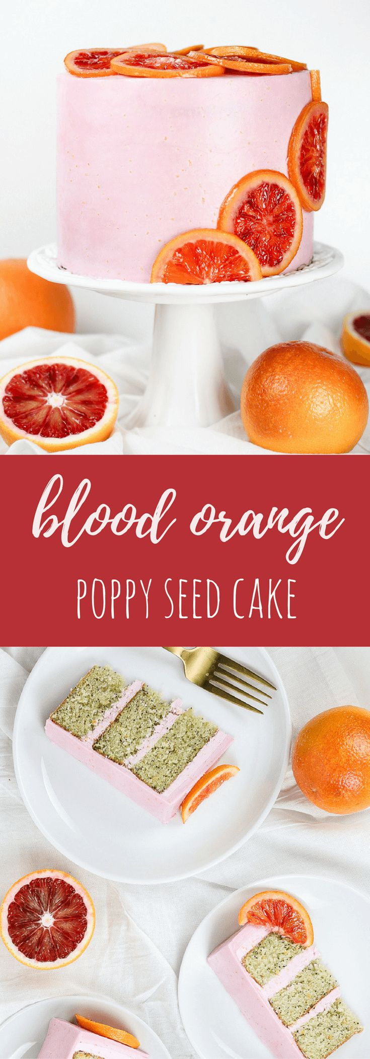 This blood orange poppy seed layer cake is frosted with a blood orange Swiss meringue buttercream and garnished with candied orange slices.