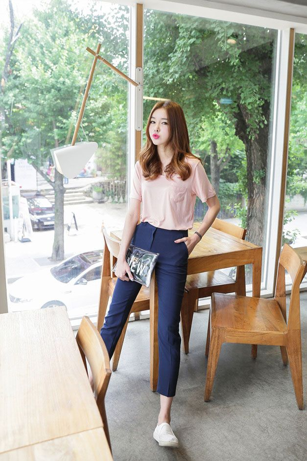 pastel pink tshirt + formal long blue pants