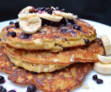 These pancakes are THE BOMB! Just 1 Tbsp coconut flour, 2 bananas, 2 eggs, 2 Tbsp almond butter, 1 tsp coconut oil (optional). I also added 1 tsp vanilla, 1/2 tsp baking soda, 1/2 tsp salt. Probably not necessary, but it worked out wonderfully!