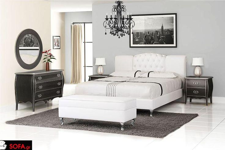 Κρεβατοκάμαρα Κλασσική Νο4 σε λευκό χρώμα και πατίνα στα έπιπλα (μαύρο-ασημί) http://www.sofa.gr/epiplo/krevatokamara-kapitone-no4