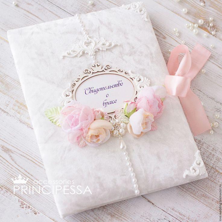 """Купить """"Чайная роза"""" папка для свидетельства - белый, аксессуары, Аксессуары handmade, аксессуары для фотосессий"""