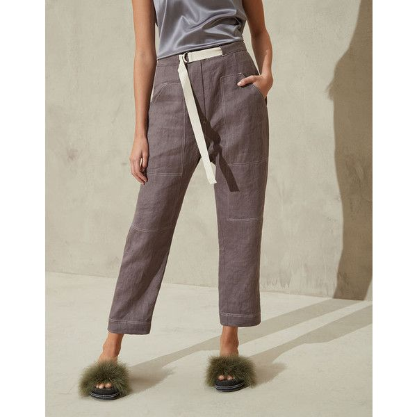 Brunello Cucinelli Trousers ($1,215) ❤ liked on Polyvore featuring pants, workwear pants, workwear trousers, brunello cucinelli and brunello cucinelli pants