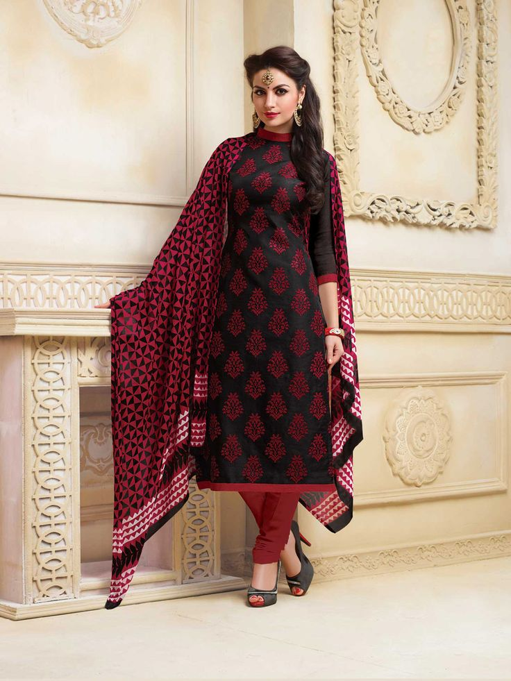 Black Banarasi Linen Churidar Suit 65746