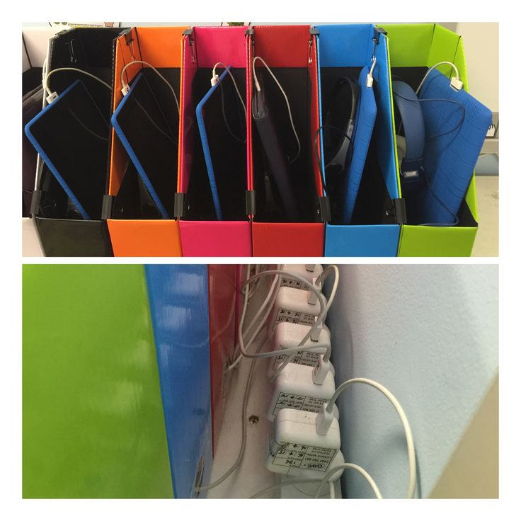 My new iPad storage and charging station for my classroom. Each iPad is colour coded to match its box. Each cord is fed through the hole in the back of the box  to the Powerboard and a piece of sticky tape across the hole stops the cord from falling through. Voila!