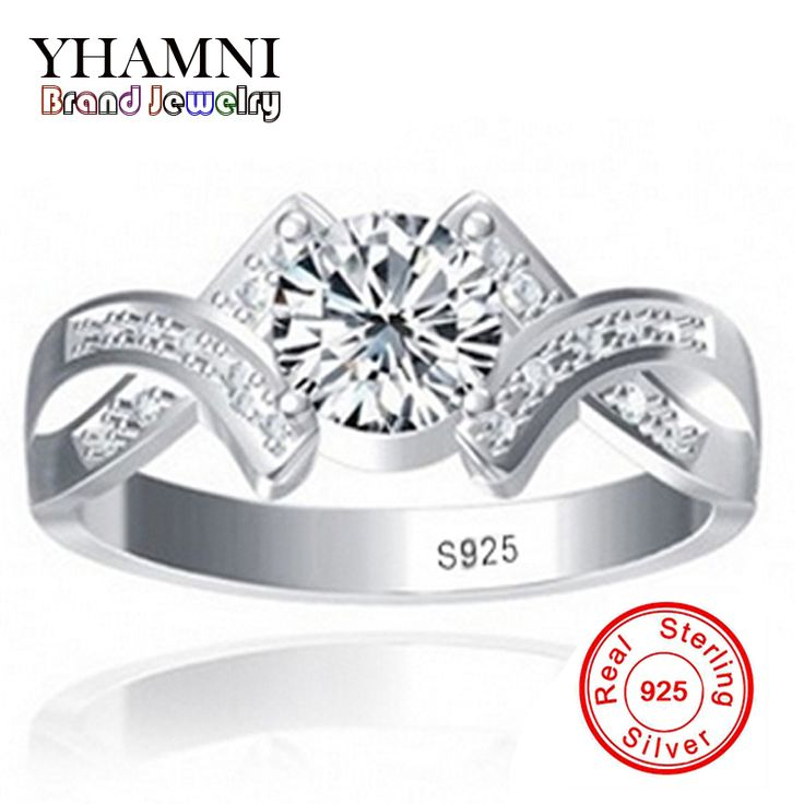 Sent Silver Certificate Real 100% 925 Sterling Silver Ring Sona 1 Carat CZ Diamond Wedding Engagement Rings For Women Y500011