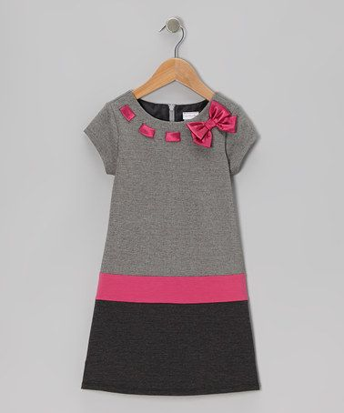 Take a look at this Black & Pink Bow Dress - Toddler by Youngland on #zulily today! I love the neckline!