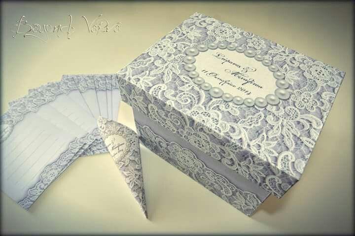 Vintage romantic elegant lace card box wish cards - Wedding stationery
