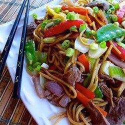 Beef Lo Mein--double sauce and cook steak first, then remove from pan ad cook veggies